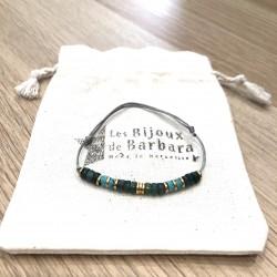 Bracelet cordon Vitamine Agate mousse verte et magnésite turquoise