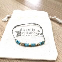 Bracelet cordon Vitamine Magnésite turquoise et Nacre