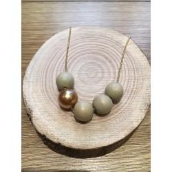 Sautoir BOUDDHISTE CHIC chaine plaqué or perles bois et cristal doré