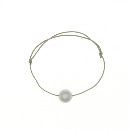 Bracelet PERLE cristal swarovski nacrée sur fashion cord grise