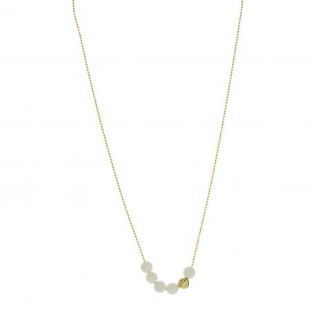 Collier collection STONE ras de cou plaqué or perles céramique blanc