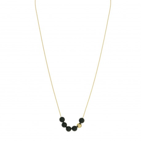 Collier collection STONE ras de cou plaqué or perles onyx noir