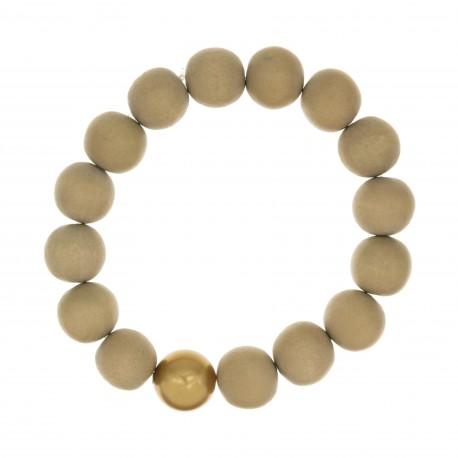 Bracelet BOUDDHISTE CHIC perles bois et cristal doré