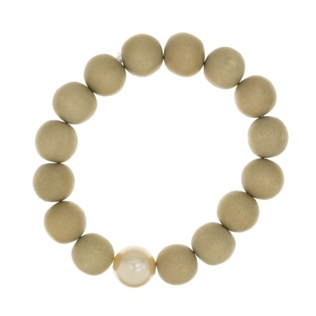 Bracelet BOUDDHISTE CHIC perles bois et cristal blanc