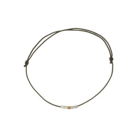 Bracelet mini cubes fashion cord taupe