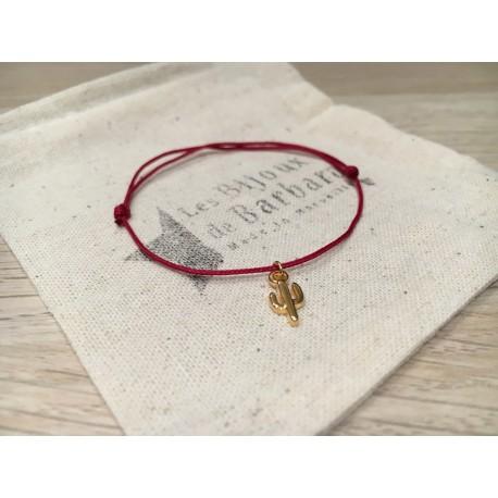 Bracelet cordon cactus plaqué or