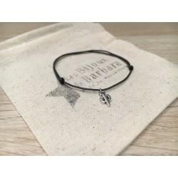 Bracelet cordon cactus plaqué argent