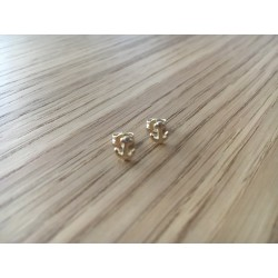 Boucles d'oreilles puces Ancres argent dorées or fin
