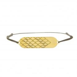Bracelet signature p.or Jaune cordon taupe