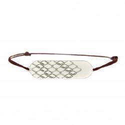 Bracelet signature p.argent cordon rouge